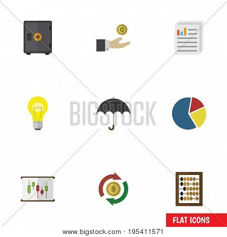 Flat Icon Incoming Set Of Bubl, Hand With Coin, Diagram Vector Objects. Also Includes Beach, Paper, Graph Elements.