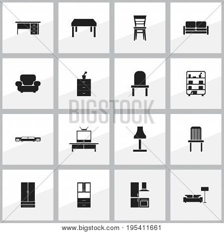 Set Of 16 Editable Furnishings Icons. Includes Symbols Such As Divan, Plant Pot, Cupboard And More. Can Be Used For Web, Mobile, UI And Infographic Design.
