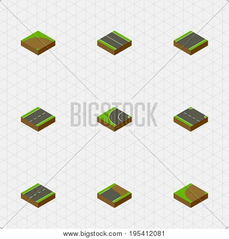 Isometric Road Set Of Driveway, Unfinished, Turning And Other Vector Objects. Also Includes Rightward, Turn, Strip Elements.