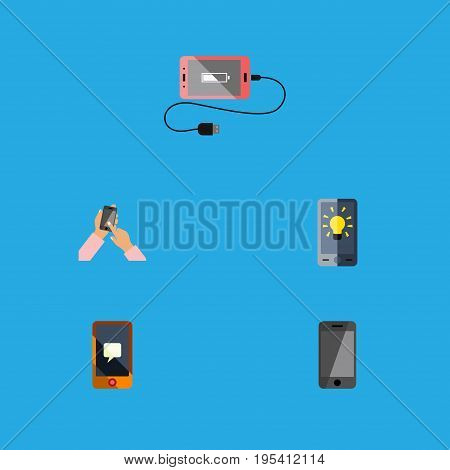 Flat Icon Phone Set Of Interactive Display, Screen, Accumulator And Other Vector Objects. Also Includes Accumulator, Screen, Message Elements.