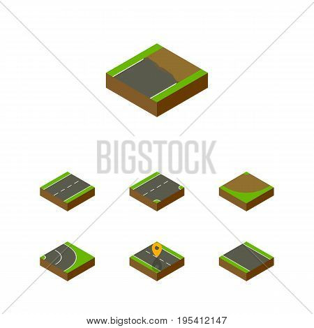 Isometric Road Set Of Driveway, Turn, Asphalt And Other Vector Objects. Also Includes Asphalt, Strip, Location Elements.