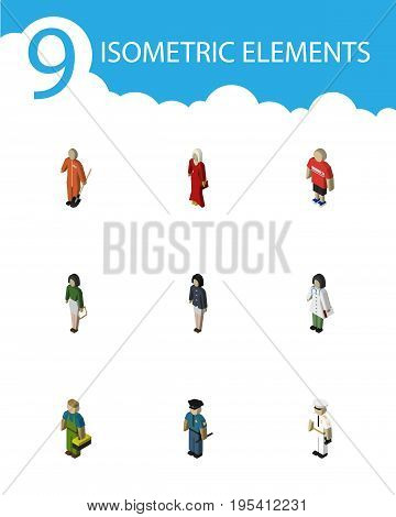 Isometric Human Set Of Doctor, Seaman, Girl And Other Vector Objects. Also Includes Technician, Girl, Doctor Elements.