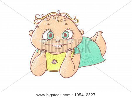 Vector color cartoon illustration joyful child. The chubby funny curly kid with big eyes. Cheerful and calm baby in turquoise clothes and a bib lying on stomach.
