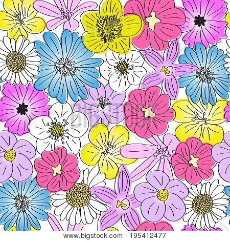 seamless meadow flowers pattern hand drawn bloom flowers texture isolated on white background