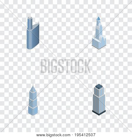 Isometric Skyscraper Set Of Exterior, Tower, Building And Other Vector Objects. Also Includes Skyscraper, Building, Tower Elements.