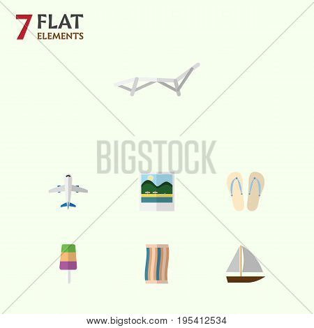 Flat Icon Summer Set Of Aircraft, Reminders, Sundae And Other Vector Objects. Also Includes Sundae, Flip, Foto Elements.