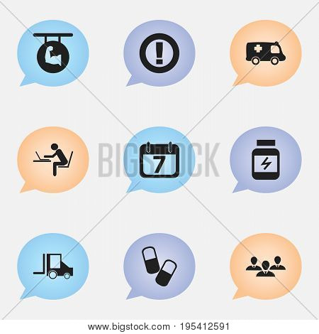 Set Of 9 Editable Complex Icons. Includes Symbols Such As Protein, Camion, Date Block And More. Can Be Used For Web, Mobile, UI And Infographic Design.