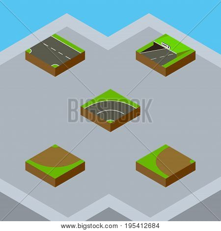 Isometric Way Set Of Bitumen, Turn, Subway And Other Vector Objects. Also Includes Turn, Down, Sand Elements.
