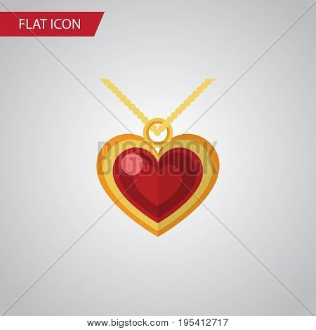 Isolated Pendant Flat Icon. Necklace Vector Element Can Be Used For Necklace, Pendant, Heart Design Concept.