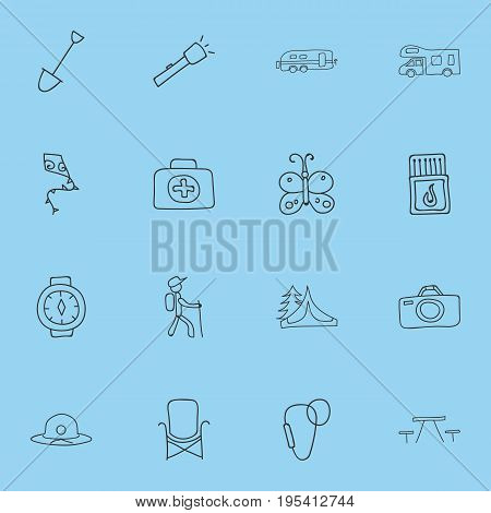 Set Of 16 Editable Travel Icons. Includes Symbols Such As Flying Toy, Beauty Insect, Flashlight And More. Can Be Used For Web, Mobile, UI And Infographic Design.