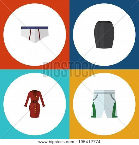 Flat Icon Clothes Set Of Underclothes, Stylish Apparel, Clothes And Other Vector Objects. Also Includes Dress, Cloth, Underwear Elements.