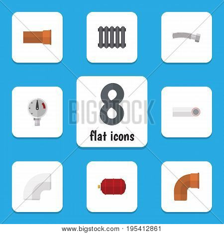 Flat Icon Plumbing Set Of Pressure, Heater, Container And Other Vector Objects. Also Includes Scale, Corrugated, Manometer Elements.