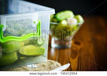 Pickled Cucumbers In A Glass Bowl
