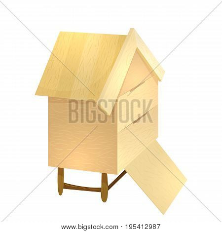 Colorful cartoon illustration of apiary beehive. Vector