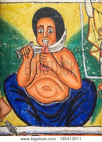 ZIEG ISLAND ETHIOPIA - July 03 2016: Murals in Ura Kida Nem Reth Church on Zieg Island Lake Tana Ethiopia.