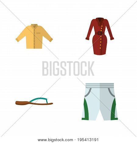 Flat Icon Dress Set Of Beach Sandal, Trunks Cloth, Banyan Vector Objects. Also Includes Sandal, Banyan, Flop Elements.