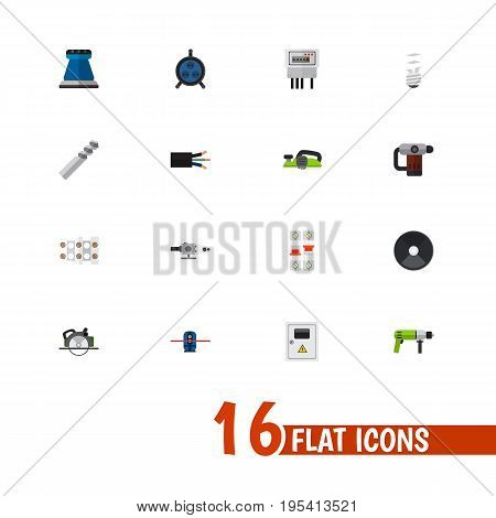 Set Of 16 Editable Electrical Icons. Includes Symbols Such As Grinder, Buzzsaw, Auger And More. Can Be Used For Web, Mobile, UI And Infographic Design.