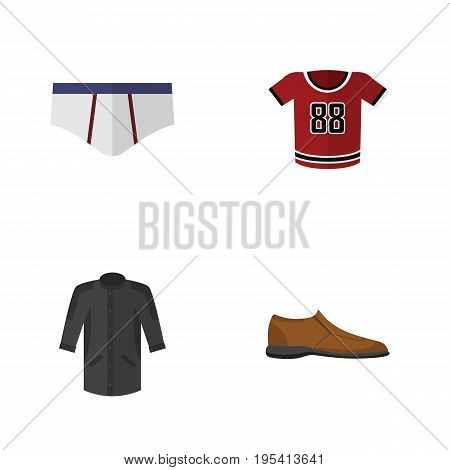 Flat Icon Clothes Set Of T-Shirt, Underclothes, Uniform And Other Vector Objects. Also Includes Underwear, Clothes, Kimono Elements.