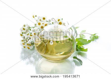 Glass Teapot With Chamomile Tea