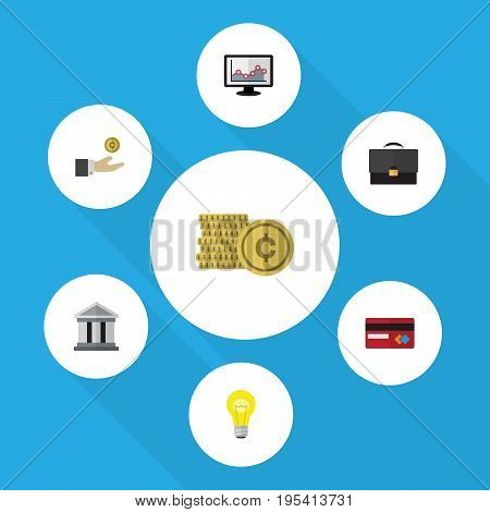 Flat Icon Finance Set Of Bank, Portfolio, Hand With Coin Vector Objects. Also Includes Coin, Hand, Architecture Elements.