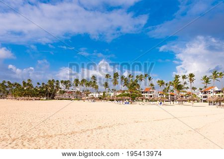 View of the sandy beach in Punta Cana La Altagracia Dominican Republic. Copy space for text
