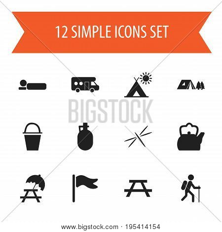 Set Of 12 Editable Travel Icons. Includes Symbols Such As Bedroll, Kettle, Caravan And More. Can Be Used For Web, Mobile, UI And Infographic Design.