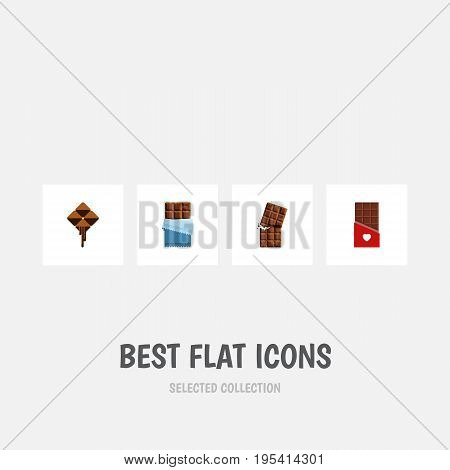 Flat Icon Chocolate Set Of Bitter, Wrapper, Delicious And Other Vector Objects. Also Includes Delicious, Dessert, Chocolate Elements.