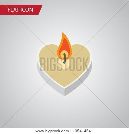 Flat Icon Love Set Of Candle Vector Objects. Also Includes Candle, Fire, Wax Elements.