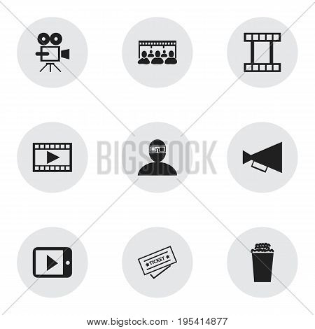 Set Of 9 Editable Cinema Icons. Includes Symbols Such As Popcorn, Announcement, Record Cam And More. Can Be Used For Web, Mobile, UI And Infographic Design.