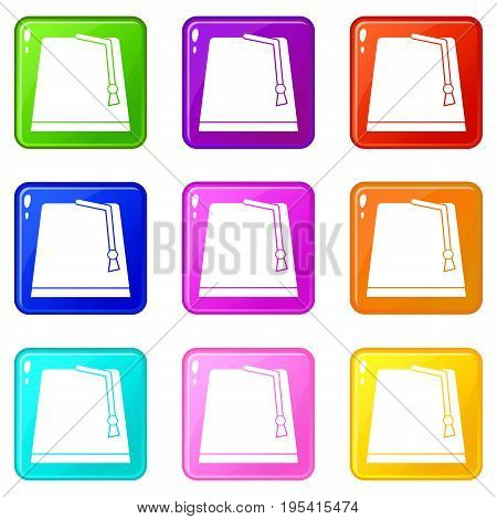 Turkish fez icons of 9 color set isolated vector illustration