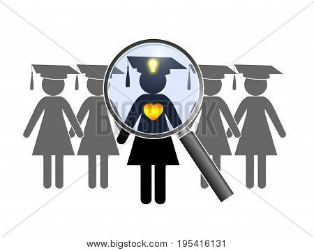 Searching for perfect Graduate. Finding a female alumnus with heart and mind at the job interview