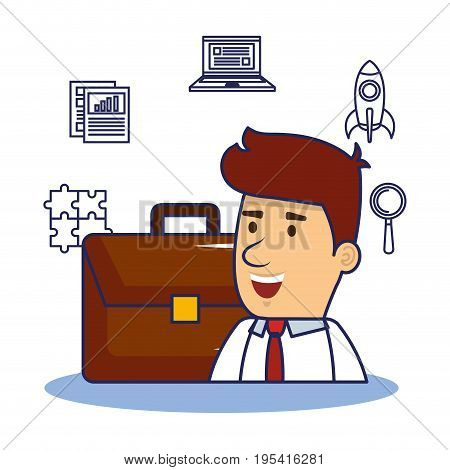 Businessman briefcase and hand drawn start up business related objects
