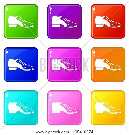Tango shoe icons of 9 color set isolated vector illustration