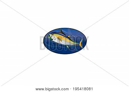 a tuna fish with a lure in it's mouth,