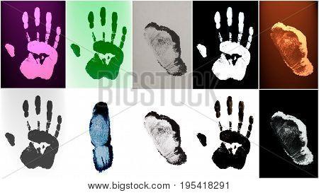Human Fingers End Hands Prints Identification Biometrics Ink