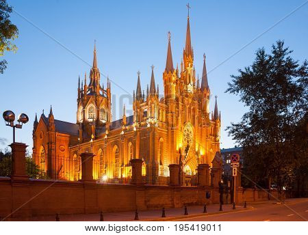MOSCOW - JULY 3: The Cathedral of the Immaculate Conception of the Blessed Virgin Mary on July 3 2017 in Moscow. This is the largest Catholic cathedral in Russia.