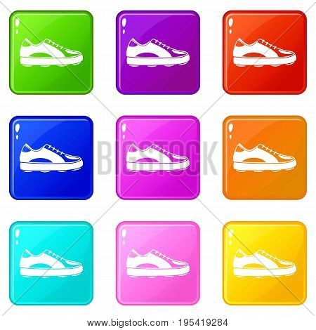 Golf shoe icons of 9 color set isolated vector illustration