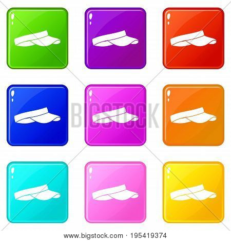 Golf visor icons of 9 color set isolated vector illustration