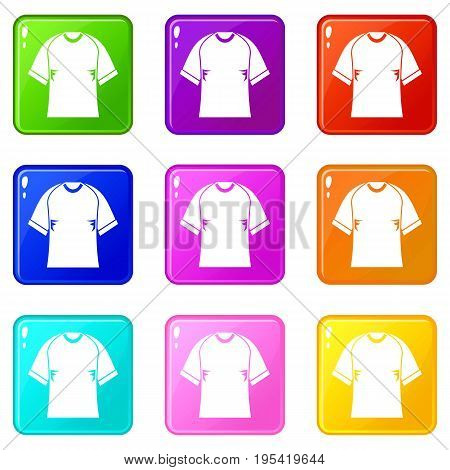Raglan tshirt icons of 9 color set isolated vector illustration