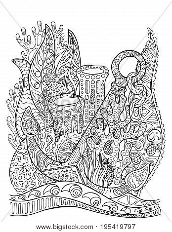 Anchor in coral reef adult coloring page. Underwater vector illustration. Black line bordered doodle coloring page. Summer vacation marine travel adult coloring book. Corals and anchor vertical card