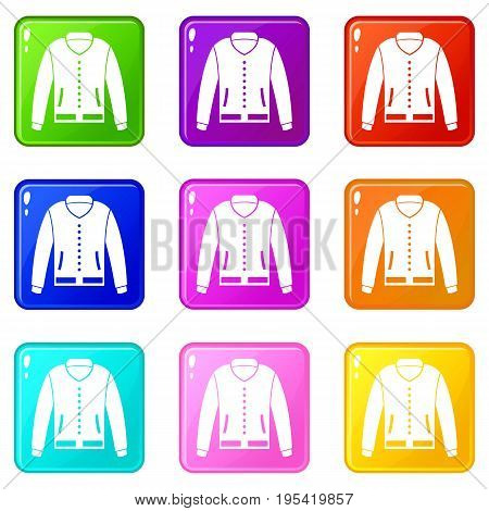 Jacket icons of 9 color set isolated vector illustration