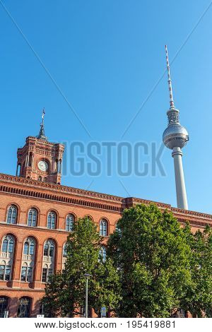 Townhall and Television Tower in Berlin on a sunny day