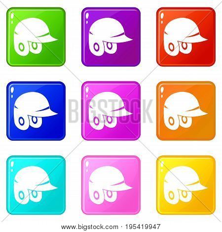 Baseball helmet icons of 9 color set isolated vector illustration