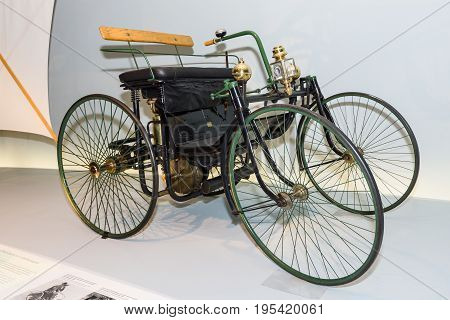 STUTTGART GERMANY- MARCH 19 2016: Daimler motorized quadricycle - the