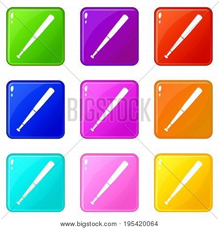 Black baseball bat icons of 9 color set isolated vector illustration