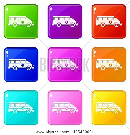 Ambulance emergency van icons of 9 color set isolated vector illustration
