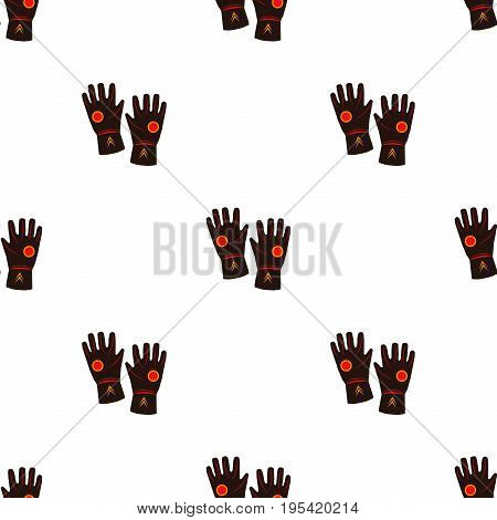 Leather work gloves seamless pattern on white background hand equipment protection design glove textile vector.