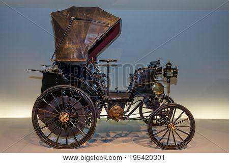 STUTTGART GERMANY- MARCH 19 2016: Vintage car Daimler Riemenwagen