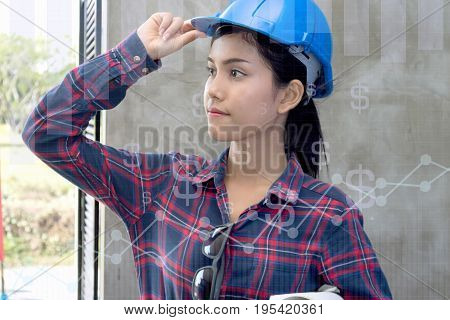 beautiful woman civil engineer close up portrait