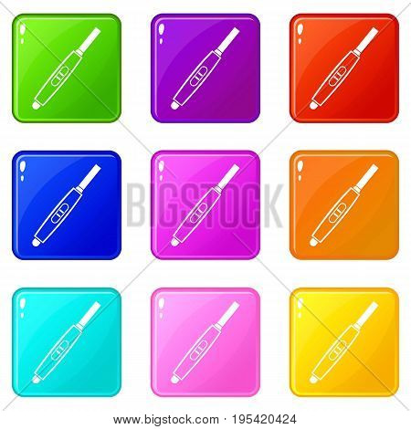 Pregnancy test with positive pregnant icons of 9 color set isolated vector illustration